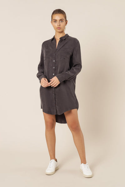 Reese Cupro Shirt Dress - Coal