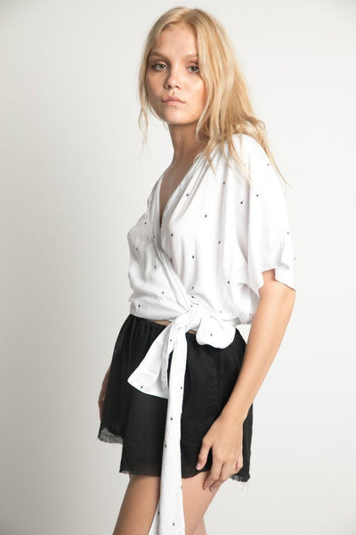 Mae Wrap Top in White Arrow