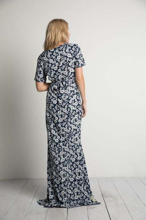 Polly Maxi Dress in Navy Wildflower