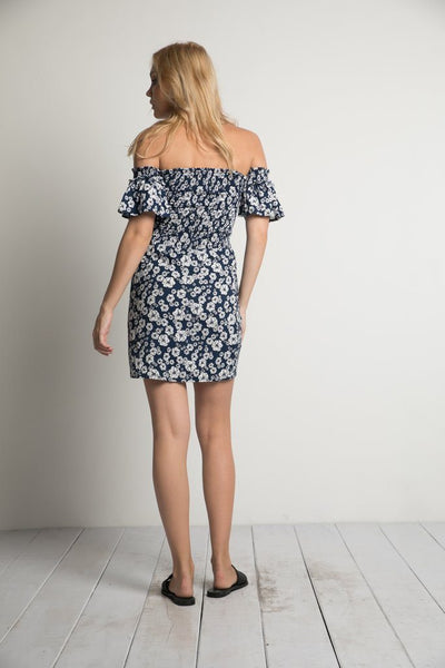 Georgia Mini Dress in Navy Wildflower