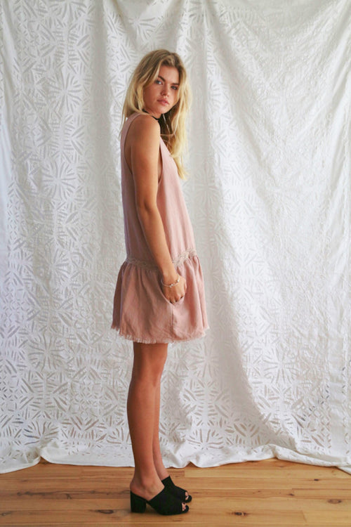 Tessa Linen Dress / Rose