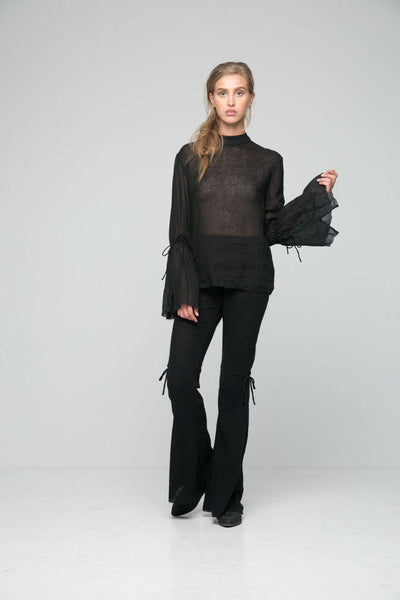 Lola Top in Black Linen