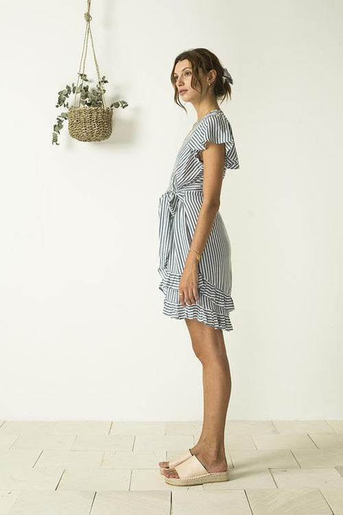 Lyla Ruffle Wrap Dress - Thalassa Stripe Blue