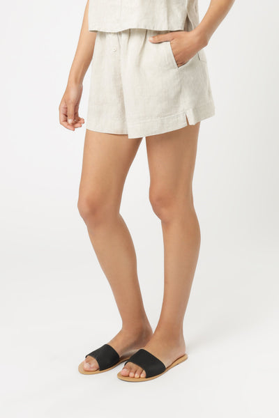 Nude Linen Lounge Short - Natural