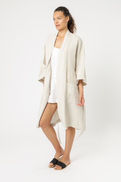 Nude Linen Lounge Robe - Natural