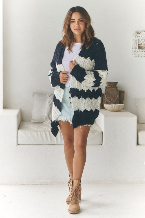 Clove Knit - Navy Stripe
