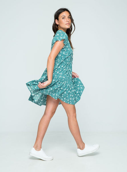 Poppy Mini Dress - Pine Flowers