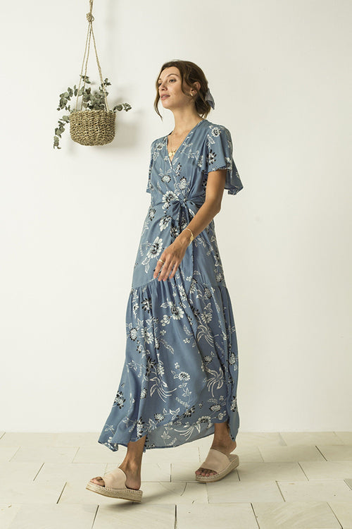 Return To Eden Dress - Wild Magnolia Aegean Blue