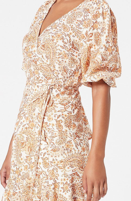 Golden Paisley Wrap Top