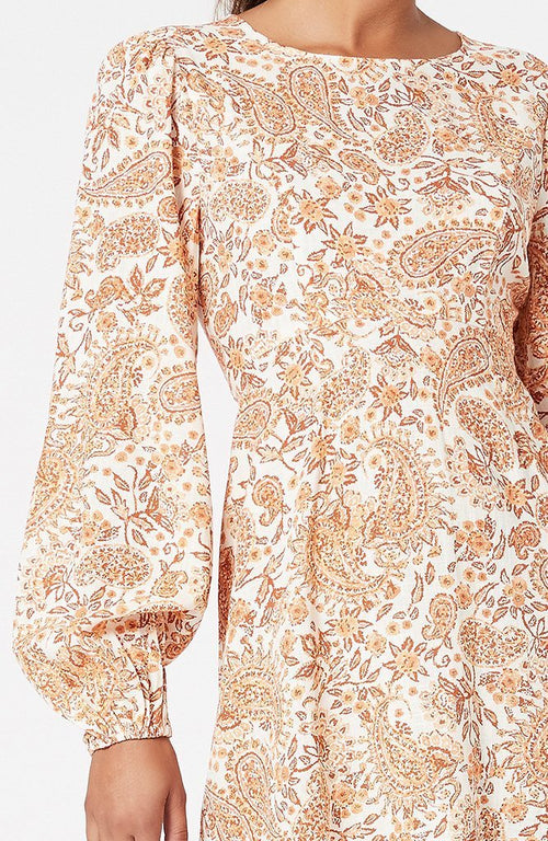 Golden Paisley Mini Dress