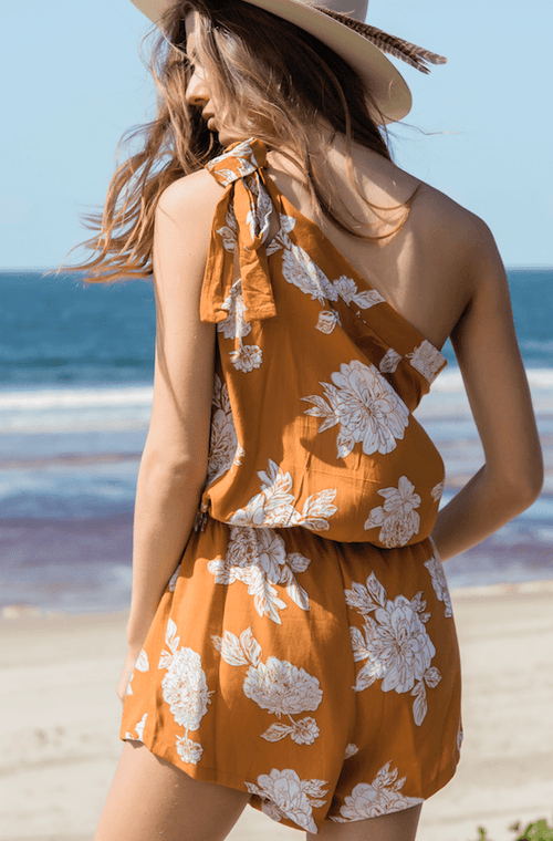 The Marina Romper in Terracotta Floral