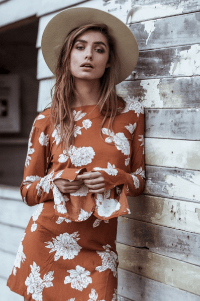 Corral Dress in Terracotta Floral