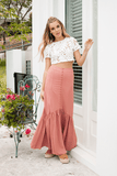 Cross Fire Maxi Skirt in Rust