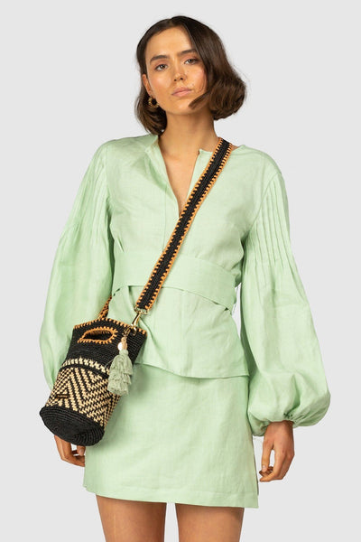 Alegrias Puff Sleeve Linen Blouse