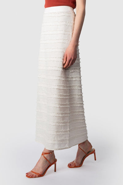 Las Palmas Fray Maxi Skirt - Bone