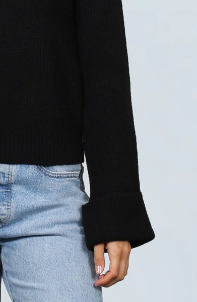 Ribbed Roll Neck - Black