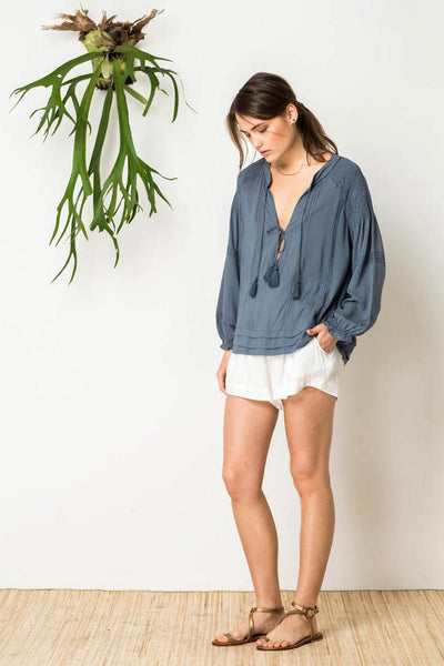 Gypsy Soul Peasant Shirt in Slate Blue