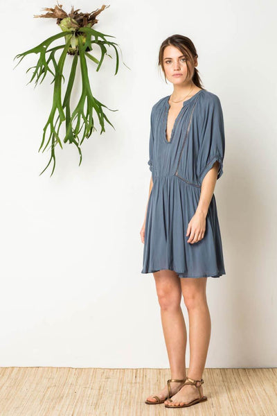Azalia Peasant Dress in Slate Blue