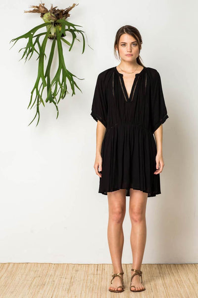 Azalia Peasant Dress in Black