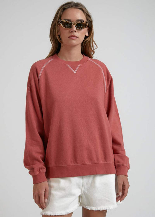 Remi Hemp Slouchy Crew - Faded Red