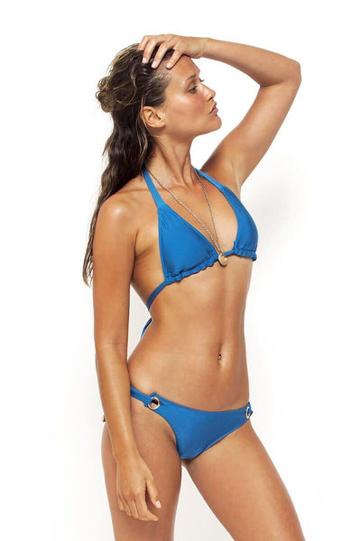 Wide Tie Triangle Bikini Top in Sea