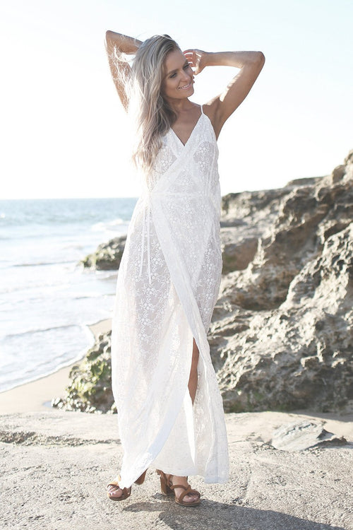Melody Lace Wrap Maxi Dress