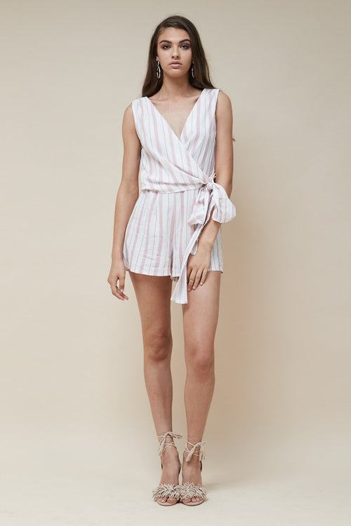 Love Me Knot Playsuit / Pink Stripe