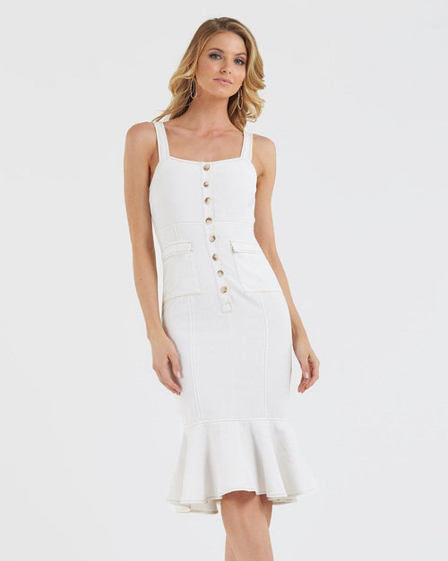 Nova Denim Dress - White