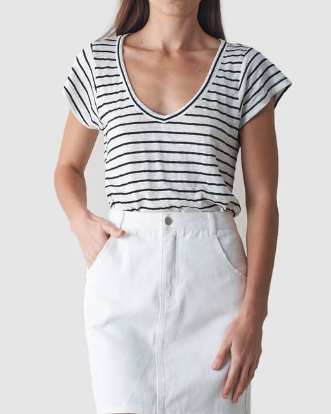 Avalon Linen T-Shirt - Stripe