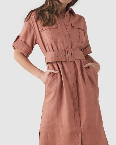 Provence Linen Shirt Dress - Dusty Rose