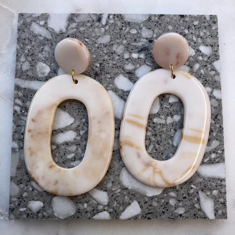Resin Cream Swirl Earrings