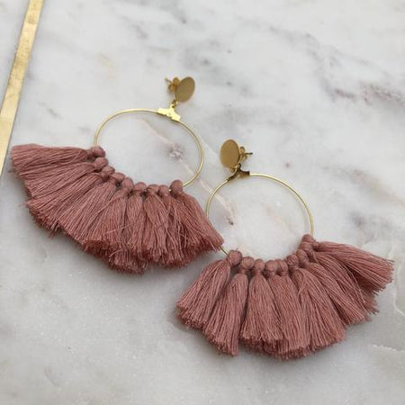 Gold Hoop/Multi Colour Tassel Earrings