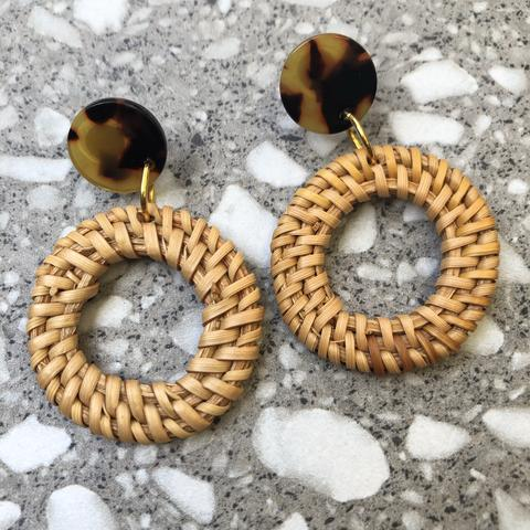 Dark Rattan Hoop Earrings - Tortoiseshell Top