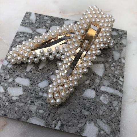 Beaded Pearl Hair Clips