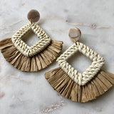 Light Rattan Fringe Earrings