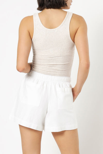 Maya Long Line Rib Tank - Cream Marle
