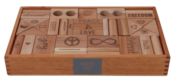 WOODEN STORY Blocks Natural Peace & Love 72 pieces