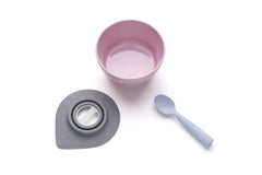 MINIWARE By BONNSU Cereal Bowl Set with Silicone Spoon Cherry Blossom / Lavender Spoon