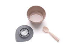 MINIWARE By BONNSU Cereal Bowl Set with Silicone Spoon Sandy Stone / Peach Spoon