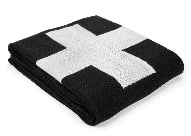 MODERN BURLAP Large Reversible SINGLE Cross Blanket