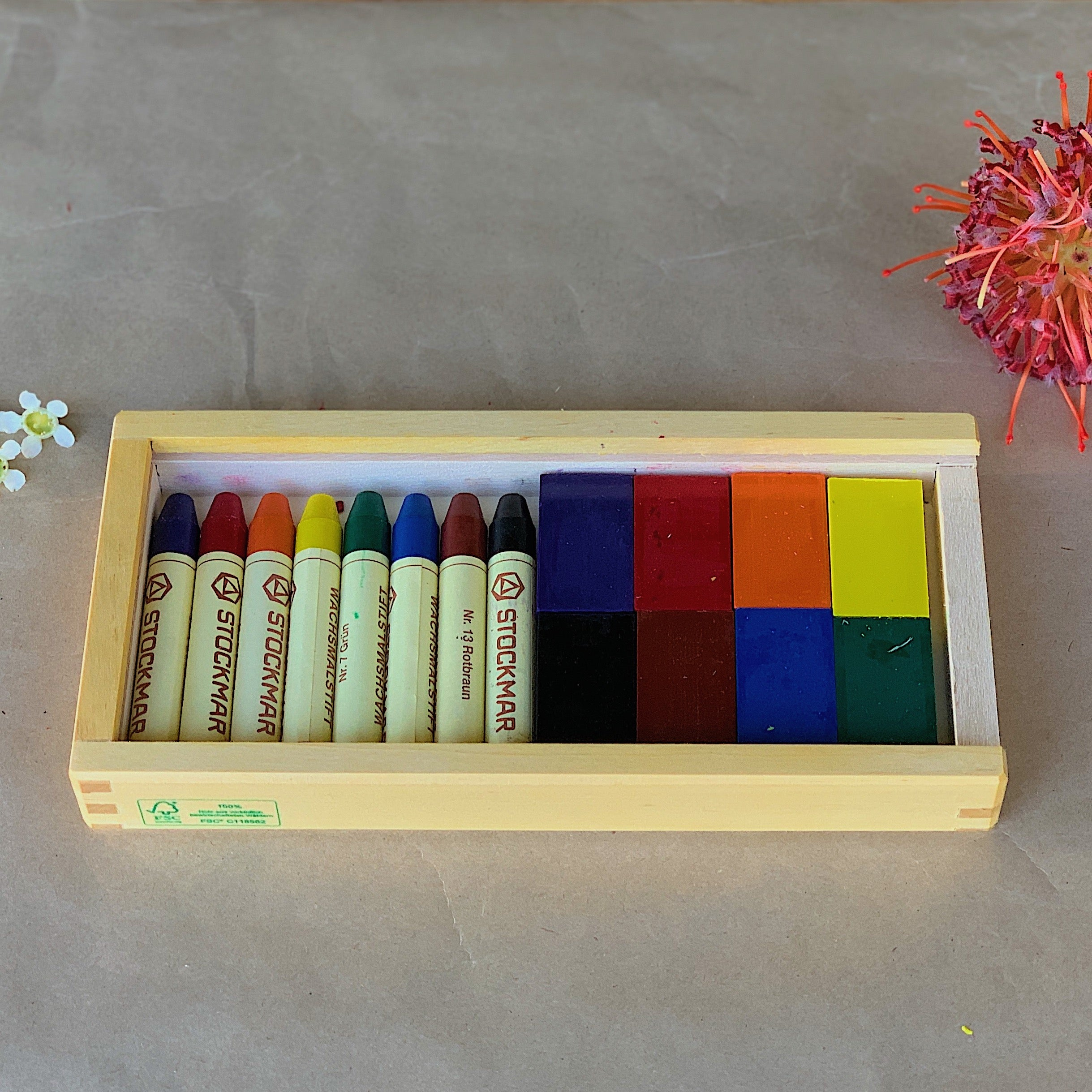 STOCKMAR | Pure Beeswax Crayons | 8 Blocks & 8 Sticks In Wooden Box