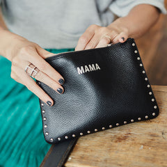 JEM + BEA Mama Clutch Black With Silver Studs