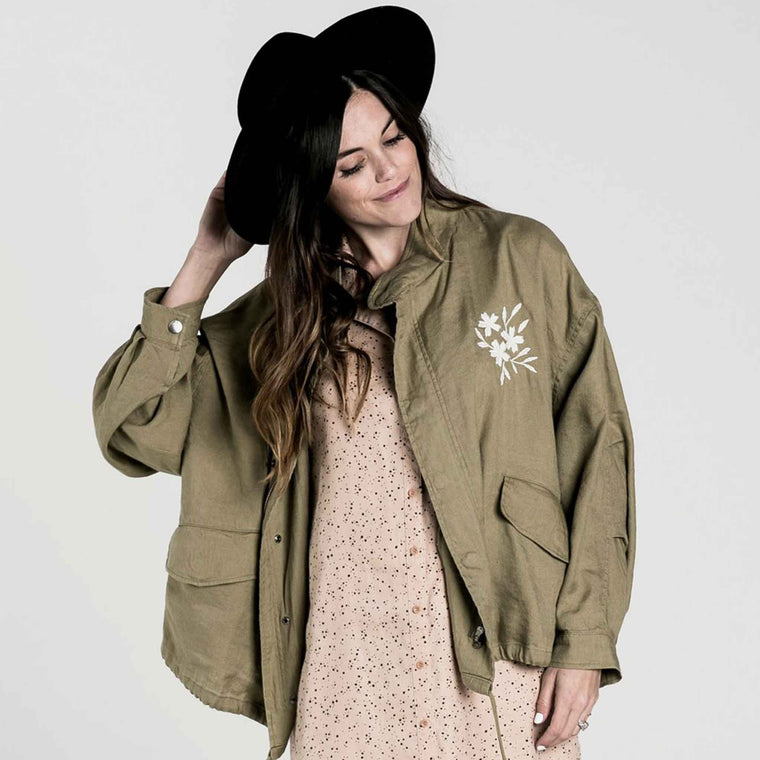 RYLEE + CRU | Womens Embroidered Fleur Jacket