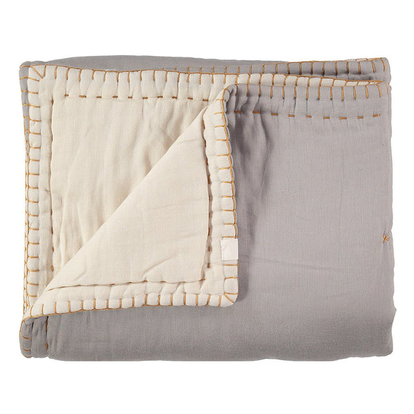 CAMOMILE LONDON | Hand Embroidered Quilt | Smoke / Stone
