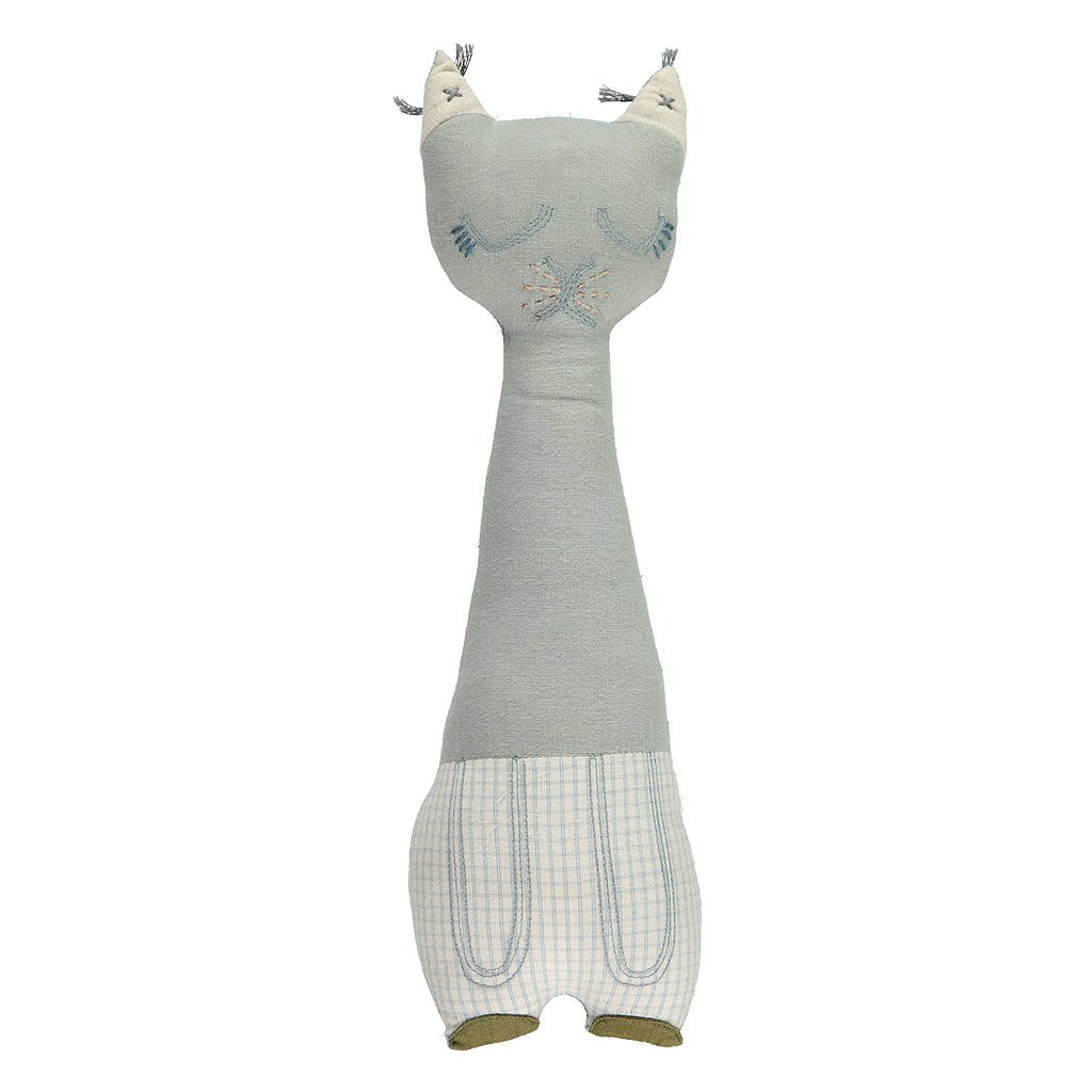 CAMOMILE LONDON  | Tall Cat Animal Cushion | Blue + Double Checked Blue