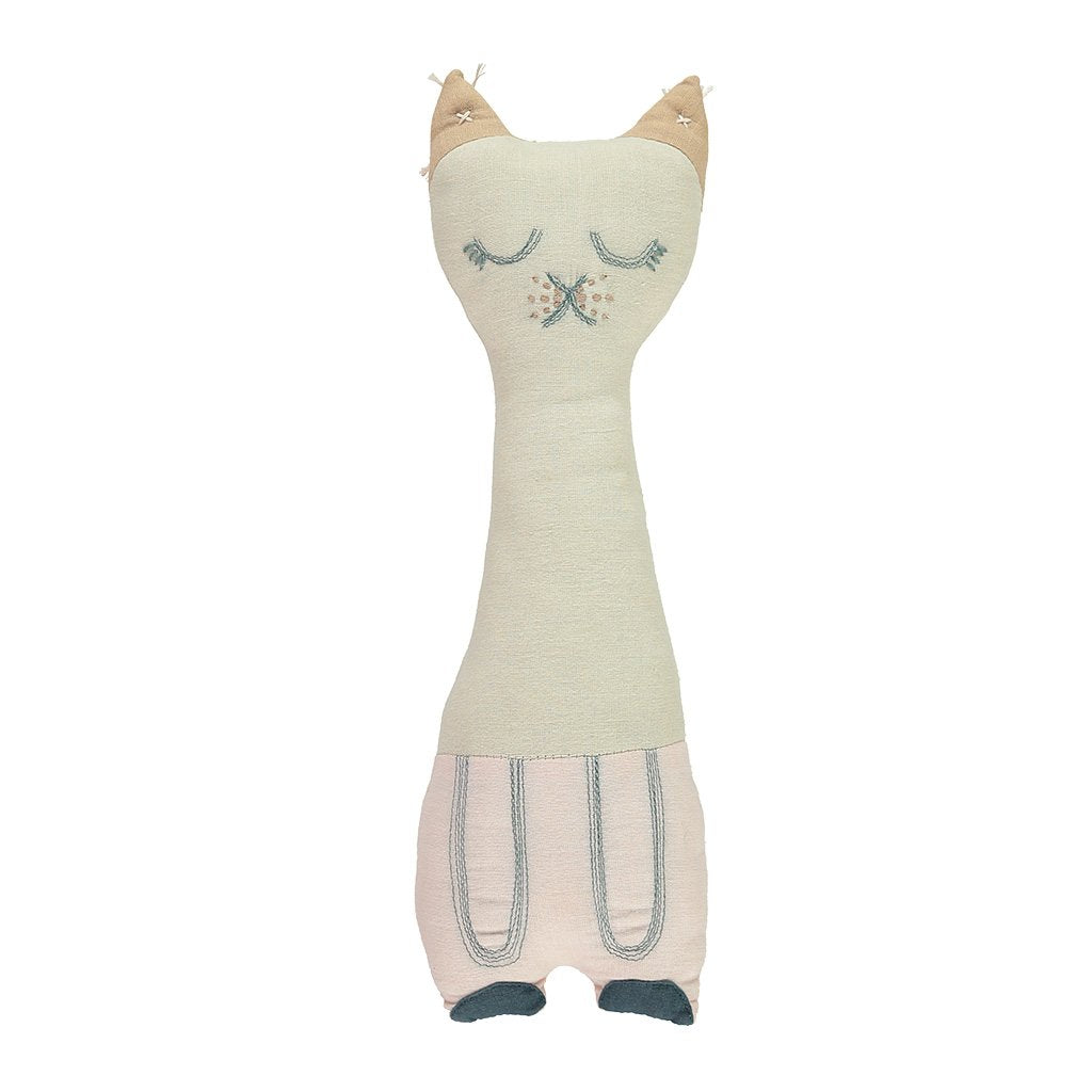 CAMOMILE LONDON | Tall Cat Animal Cushion | Stone + Pink