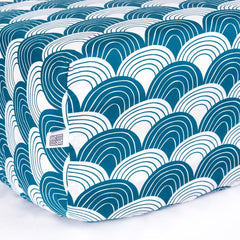 SWEDISH LINENS Rainbows Fitted Sheet Moroccan Blue 90cm X 200cm