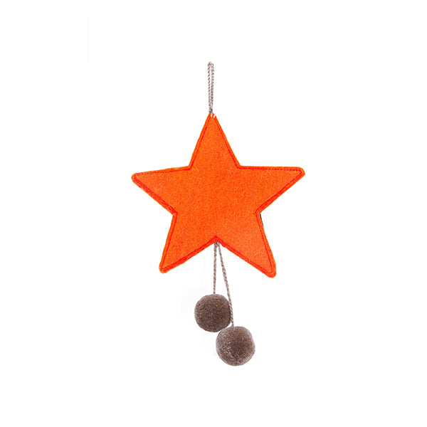 MUSKHANE Felt Hanging Star With Pompoms Orange & Stone