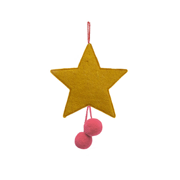 MUSKHANE Felt Hanging Star With Pompoms Pollen & Ultra Pink