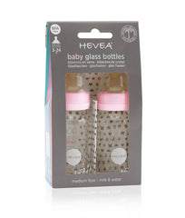 HEVEA Glass Feeding Bottles 2 Pack Pink